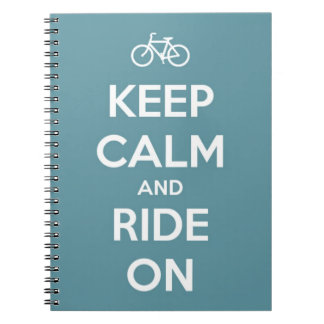 Keep Calm and Ride On Blue Spiral Note Books
