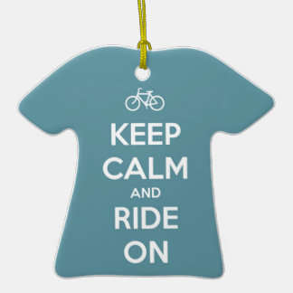 Keep Calm and Ride On Blue Ornaments