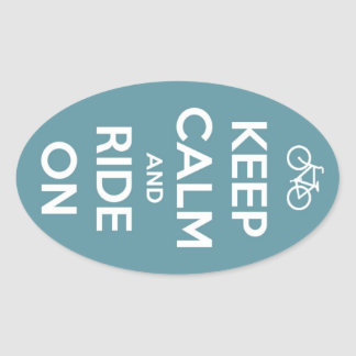 Keep Calm and Ride On Blue Oval Sticker