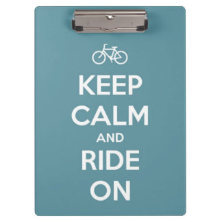 Keep Calm and Ride On Blue Personalized Clipboard