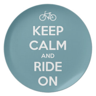 Keep Calm and Ride On Blue Dinner Plate