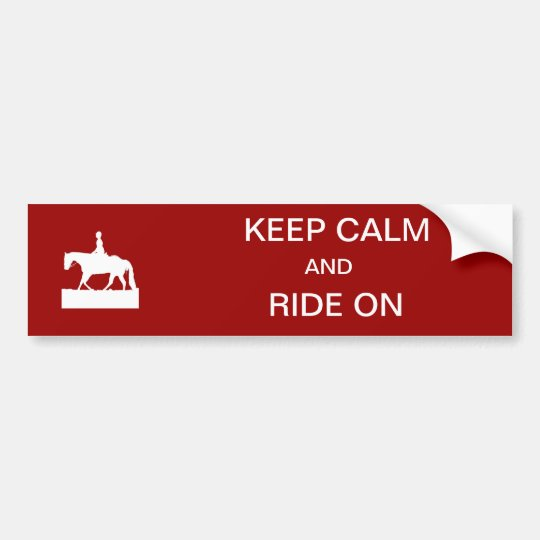 Keep calm and ride on bumper sticker