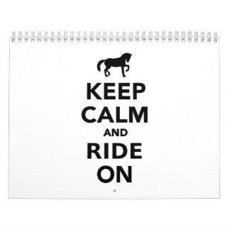 Keep calm and ride on calendars