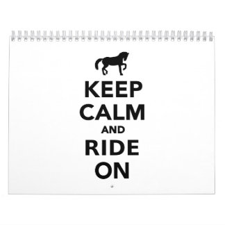 Keep calm and ride on calendar