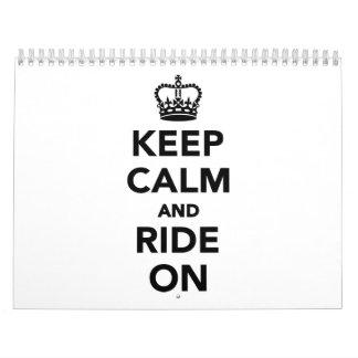 Keep calm and ride on calendar