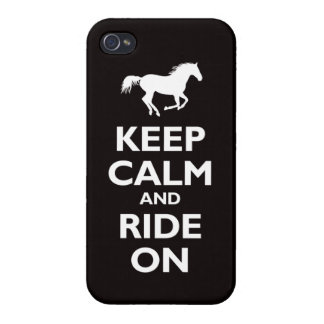 Keep Calm and Ride On (horse) - black Case For iPhone 4