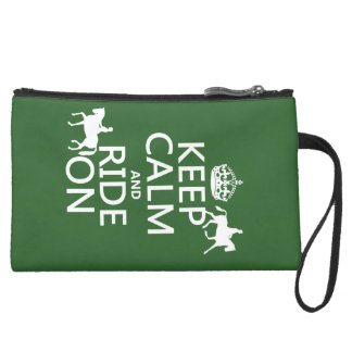 Keep Calm and Ride On - horses all colours Wristlet Purse