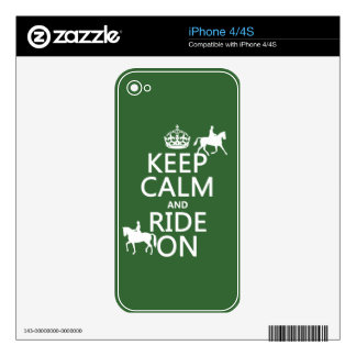Keep Calm and Ride On - horses, all colours iPhone 4S Decals