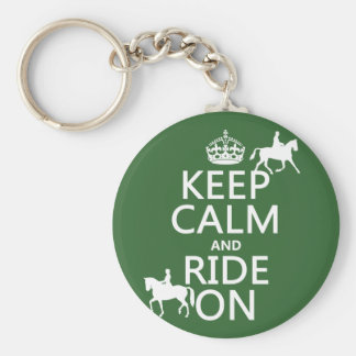 Keep Calm and Ride On - horses, all colours Keychain
