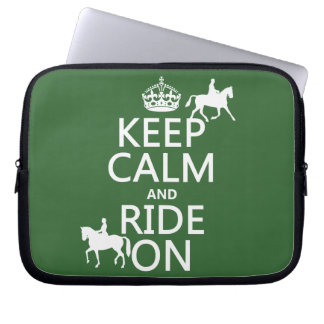 Keep Calm and Ride On - horses, all colours Laptop Sleeve
