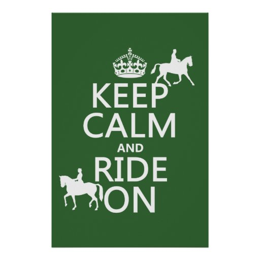 Keep Calm and Ride On - horses, all colours Poster