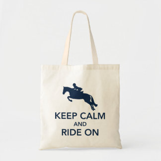 Keep Calm and Ride On Hunter Jumper Navy Blue Budget Tote Bag