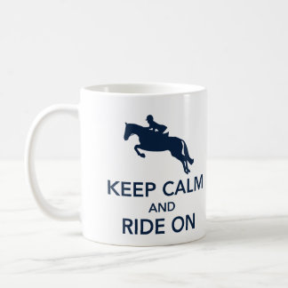 Keep Calm and Ride On Hunter Jumper Navy Mug