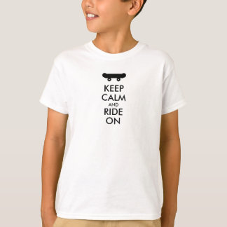 Keep Calm and Ride On Kids Skateboarding Te Shirt