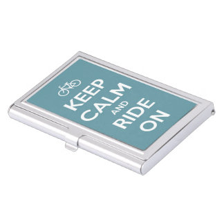 Keep Calm and Ride On Medium Blue Business Card Holder