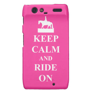 Keep calm and ride on pink droid RAZR cover
