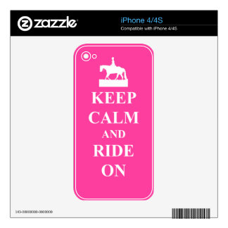 Keep calm and ride on, pink decal for iPhone 4