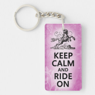 Keep Calm and Ride On - Pink Keychain
