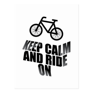 Keep calm and ride on postcard