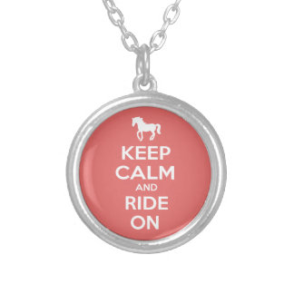 Keep Calm and Ride On Round Pendant Necklace