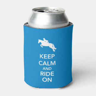 Keep Calm and Ride On Royal Blue Hunter Jumper Can Cooler