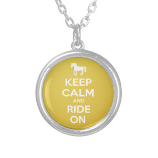 Keep Calm and Ride On Silver Plated Necklace