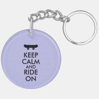 Keep Calm and Ride On Skateboarding Rider Custom Keychain