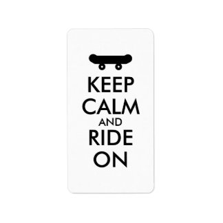 Keep Calm and Ride On Skateboarding Rider Custom Label
