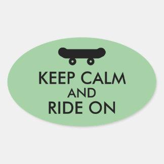 Keep Calm and Ride On Skateboarding Rider Custom Oval Sticker