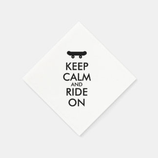 Keep Calm and Ride On Skateboarding Rider Custom Standard Cocktail Napkin