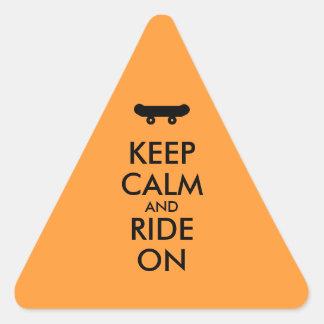 Keep Calm and Ride On Skateboarding Rider Custom Triangle Sticker