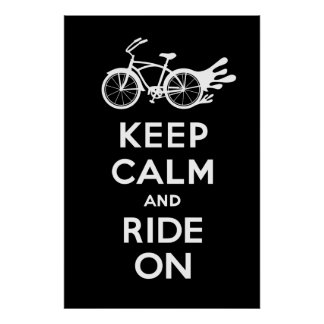 Keep Calm and Ride On - solid poster print blk