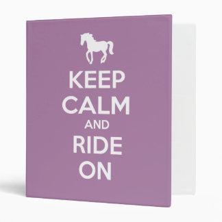 Keep Calm and Ride On Vinyl Binder
