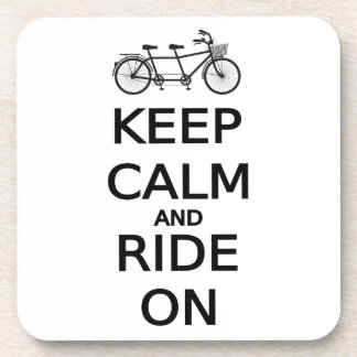 keep calm and ride on word art, text design drink coaster