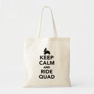 Keep calm and ride Quad Tote Bag