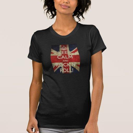 keep calm and rock n roll fem. t-shirts