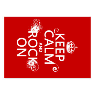 Keep Calm and Rock On (any background color) Large Business Cards (Pack Of 100)