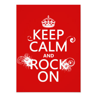 """Keep Calm and Rock On (any background color) 5.5"""" X 7.5"""" Invitation Card"""