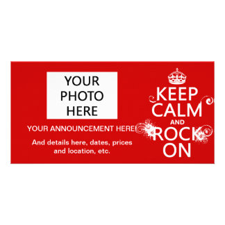 Keep Calm and Rock On (any background color) Picture Card