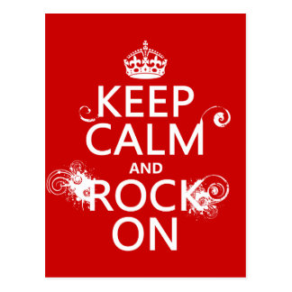 Keep Calm and Rock On (any background color) Postcard