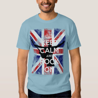Keep Calm and Rock On Awesome Distressed UK Flag Tee Shirt