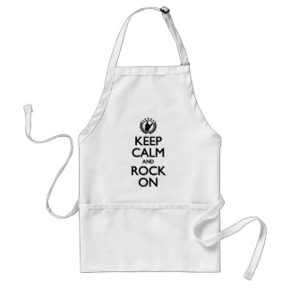 Keep Calm And Rock On black Font Adult Apron