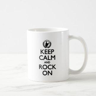 Keep Calm And Rock On black Font Coffee Mug