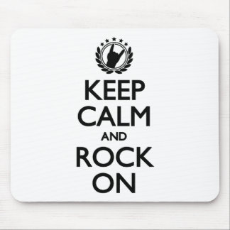 Keep Calm And Rock On black Font Mousepads