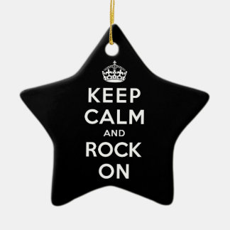 Keep Calm and Rock On Ceramic Ornament