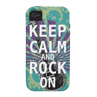KEEP CALM AND ROCK ON change teal any color Case-mate Iphone 4 Cases