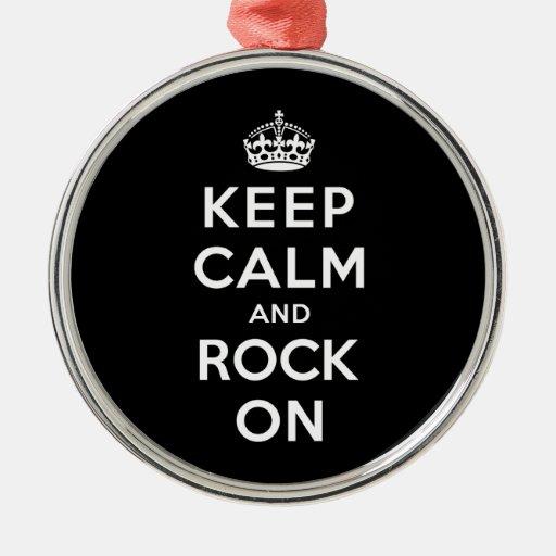 Keep Calm and Rock On Christmas Ornament