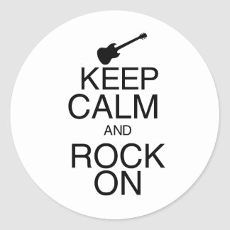 Keep Calm and Rock On Classic Round Sticker