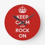Keep Calm and Rock On Clocks
