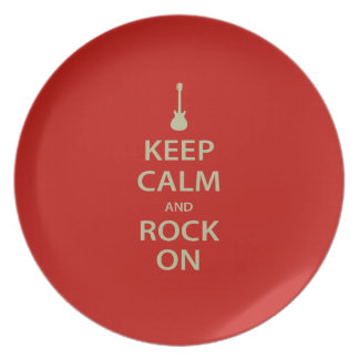 Keep Calm and Rock On! Dinner Plate